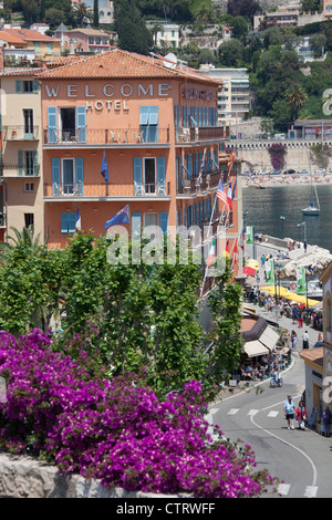 Town of Villefranche, France. Picturesque elevated view of Villefranche-Sur-Mer waterfront. - Stock Photo