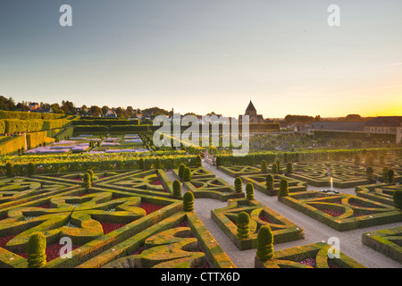 Die wunderschönen Gärten des Schlosses Villandry in französischen Loire-Tal. - Stockfoto