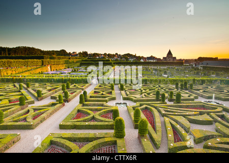 The beautiful gardens at the chateau of Villandry in the Loire Valley of France. - Stock Photo