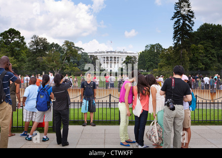 Visitors in front of the White House south portico - Washington, DC USA - Stock Photo