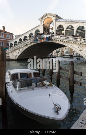 The Rialto Bridge on the Grande Canal, Venice, Italy - Stock Photo