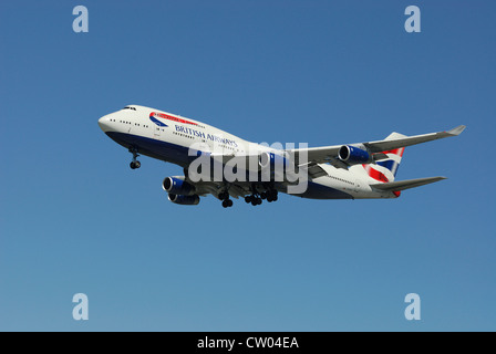 British Airways Boeing 747 436 G-CIVJ approaching for a landing. - Stock Photo