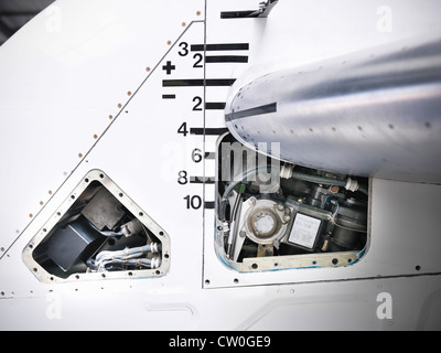 Close up of tail mechanism of airplane - Stock Photo