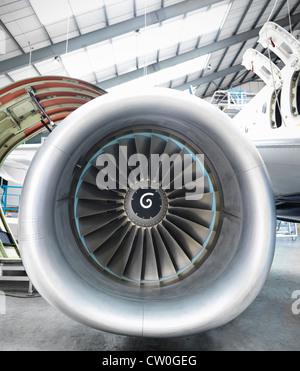 Close up of still jet airplane engine - Stock Photo