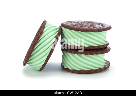Green mint chocolate ice cream sandwich on a white background - Stock Photo