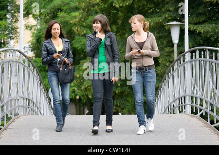 Europe, Germany, Rhineland, area of Bonn, district of Ahrweiler, Bad Neuenahr, girls in the park - Stock Photo