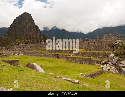 Machu Picchu, view of old buildings at the ruined city, Peru, South America - Stock Photo