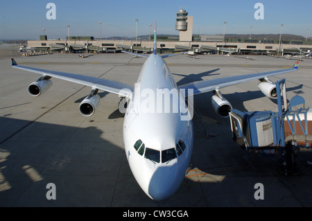 A Passagiermaschiene at Zurich Airport (Switzerland) - Stock Photo