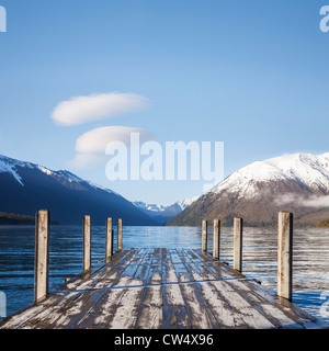 The famous view of the jetty at Lake Rotoiti, Nelson Lakes National Park, New Zealand, on a fresh, clear early spring - Stock Photo