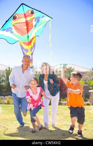 Family flying a kite in a park - Stock Photo