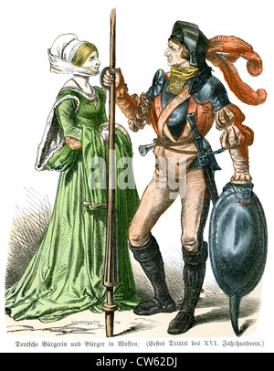 German Knight and Lady from the late 16th Century - Stock Photo