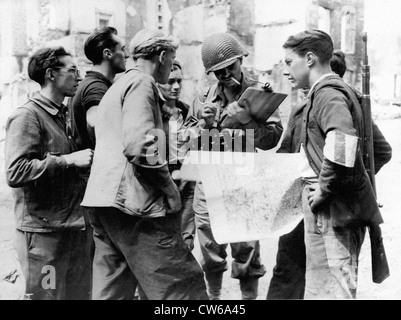 Second French Armored Division in Barenton (France) summer 1944. - Stock Photo