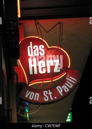 The heart of St. Pauli - neon light sign of a bar, Germany, St. Pauli, Hamburg - Stock Photo