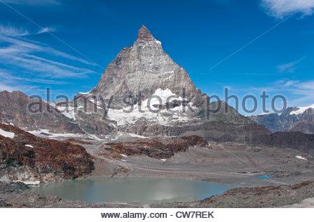 View of Matterhorn from Trockener Steg, Zermatt, Wallis, Switzerland - Stock Photo