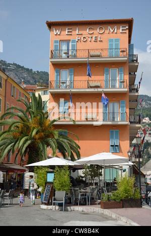 Welcome Hotel, Old Town, Villefranche-sur-Mer, Côte d'Azur, Alpes-Maritimes, Provence-Alpes-Côte d'Azur, France - Stock Photo