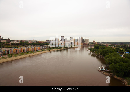 saint st paul minnesota mn skyline aerial daytime skyscrapers river mississippi riverboats boats canal - Stock Photo