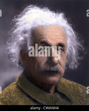Albert Einstein (1879-1955) portrait taken at Princeton University in 1947.   Einstein ended his career at the Institute - Stockfoto