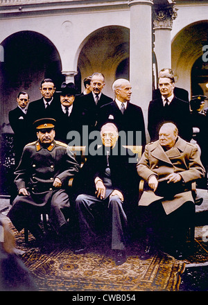 The Yalta Conference, (seated) Joseph Stalin, Franklin D. Roosevelt, Winston Churchill, February, 1945 - Stock Photo