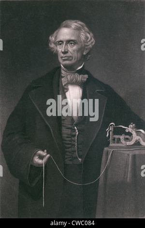 Samuel F. B. Morse (1791-1872), inventor of the magnetic telegraph. Steel engraving by John Sartan. - Stock Photo