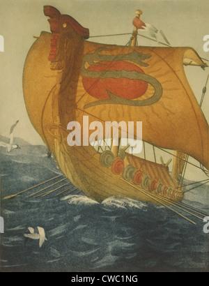 THE DRAGON SHIP. Viking ship at sea. Etching by John Taylor Arms 1922. - Stock Photo