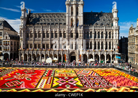 2012 Flower Carpet, Tapis de Fleurs, in front of the City (Town) Hall, Stadhuis, in the Grand-Place, Grote Markt, - Stock Photo