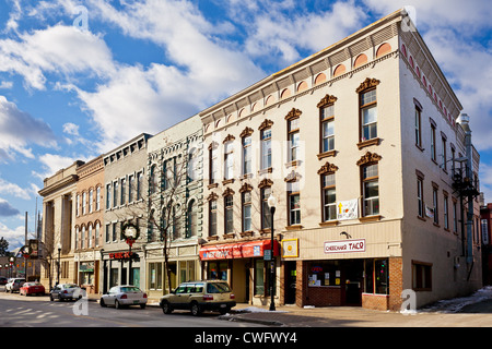 Downtown Plattsburgh business district, Adirondacks, New York - Stock Photo