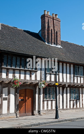 Medieval black and white half timbered medieval building on Church Street Stratford upon Avon England - Stock Photo