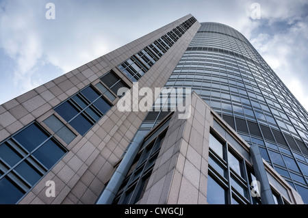 Modern glass office building in the morning, wide angle view - Stock Photo