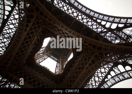 Eiffel Tower from the bottom, Paris, France, Europe - Stock Photo