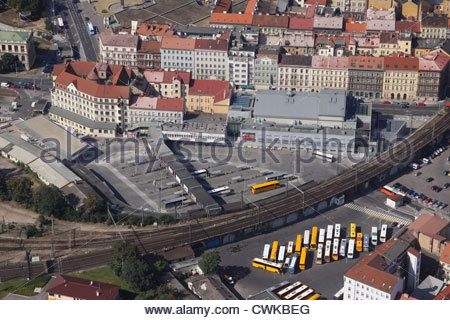 Air Photo of Bus Station Florenc in Prague - Stock Photo