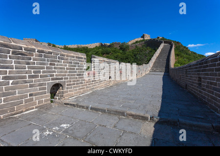 The Great Wall of China with blue sky at Sunny Day - Stock Photo