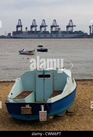 View of Felixstowe port from Harwich, Essex - Stock Photo