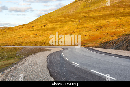 Norway road landscape at sunset. - Stock Photo