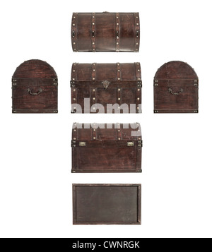 All sides of an old Treasure chest isolated on white background - Stock Photo