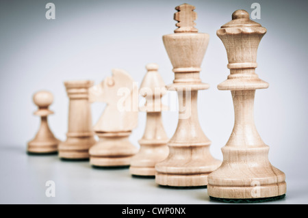 set chess pieces white - Stock Photo