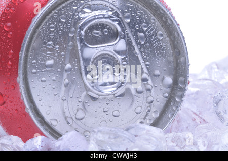 Close Up of a Red Soda Can Top with Ice and Condensation white background copyspace - Stock Photo