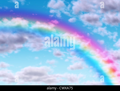 Rainbow arc on a blue sky with clouds as a symbol of success hope and luck with the color spectrum from light refraction - Stock Photo