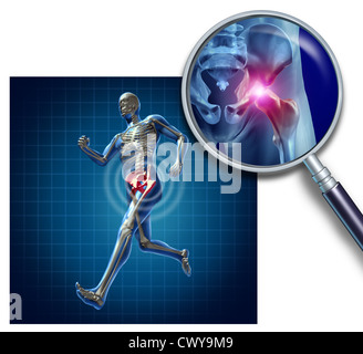 Sports Hip injury with a running athlete showing the anatomical skeleton with a red highlight on the hips magnified - Stock Photo