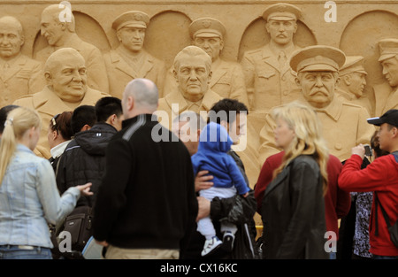 ITAR-TASS 66: MOSCOW, RUSSIA. MAY 6, 2010. Sand figures of the Tehran Conference's members Winston Churchill, Franklin - Stock Photo