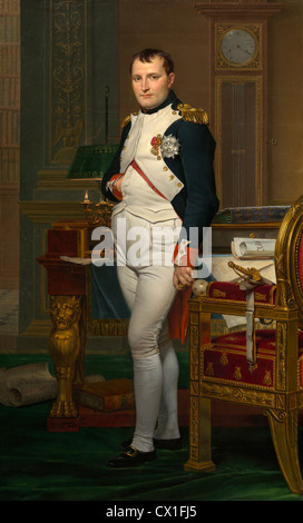 Jacques-Louis David (French, 1748 - 1825 ), The Emperor Napoleon in His Study at the Tuileries, 1812, oil on canvas - Stock Photo