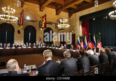 WASHINGTON, USA. JUNE 25, 2010. At a meeting of Russian Federation president Dmitry Medvedev and U.S. president - Stock Photo