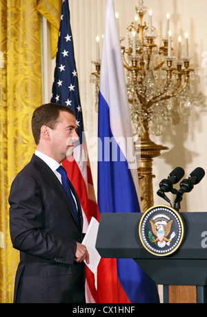 WASHINGTON, USA. JUNE 25, 2010. Russian President Dmitry Medvedev at a joint press conference with U.S. President - Stock Photo