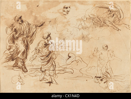 Giovanni Benedetto Castiglione (Italian, 1609 or before - 1664 ), Studies for a Biblical Scene - Stock Photo