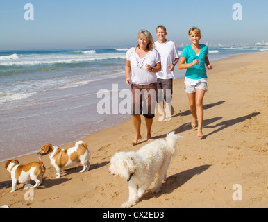 family and family dogs running on beach - Stock Photo
