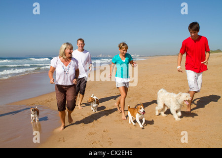 active family with pet dogs running on beach - Stock Photo