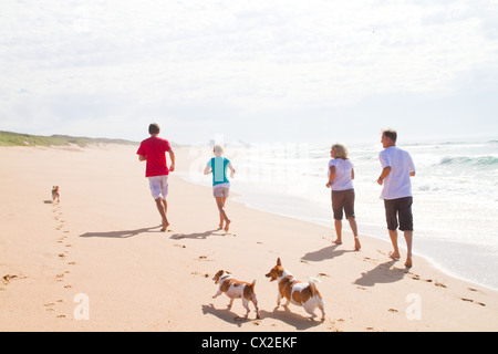active happy family with pet dogs running on beach - Stock Photo