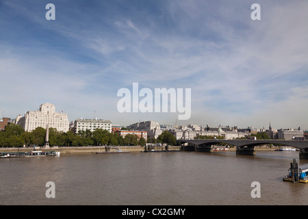 Shell Mex House and Waterloo Bridge panorama over the Thames - Stockfoto
