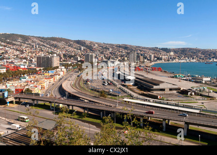 View of Valparaiso and the hills from ascensor Baron, highways going to Vina del Mar in the front - Stock Photo