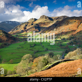 Great Langdale and the Langdale Pikes, Lake District National Park, Cumbria, England. Autumn (November) 2010. - Stock Photo