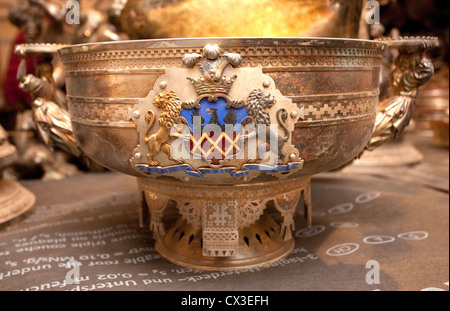 ITAR-TASS: ST PETERSBURG, RUSSIA. MARCH 29, 2012. A bowl bearing the Naryshkin coat of arms discovered under the - Stock Photo
